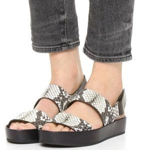 Vince Marett Platform Sandals Python Snakeskin